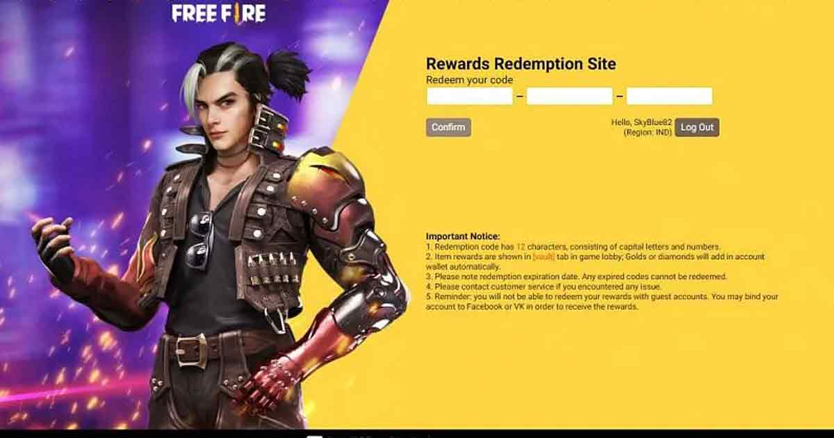 Free Fire Redemption Site: Process of using Redeem Codes