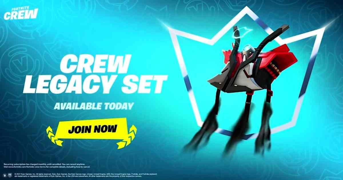 The Fortnite Crew Legacy Set: Grab the Back Bling, unlockable Pickaxe