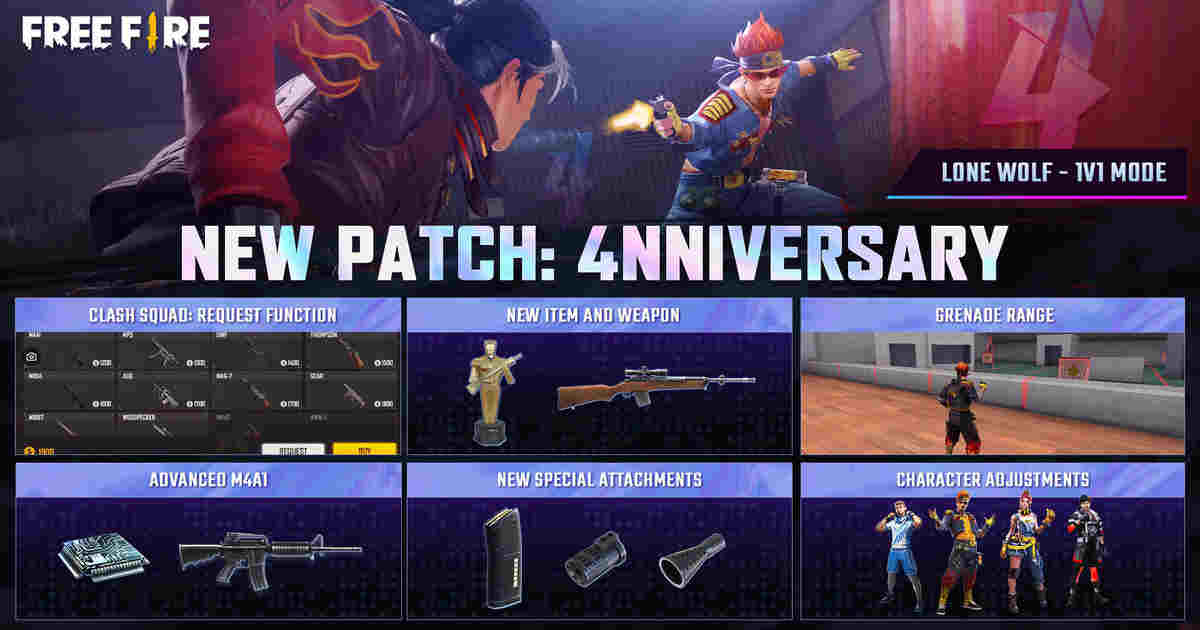 Free Fire OB29 patch update celebrates the game's Fourth Anniversary
